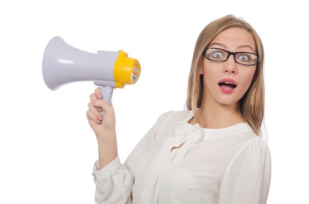Femme avec haut-parleur isolé sur blanc