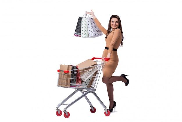 Femme heureuse après de bons achats isolé sur blanc