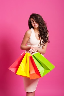 Femme heureuse, à, sacs provisions