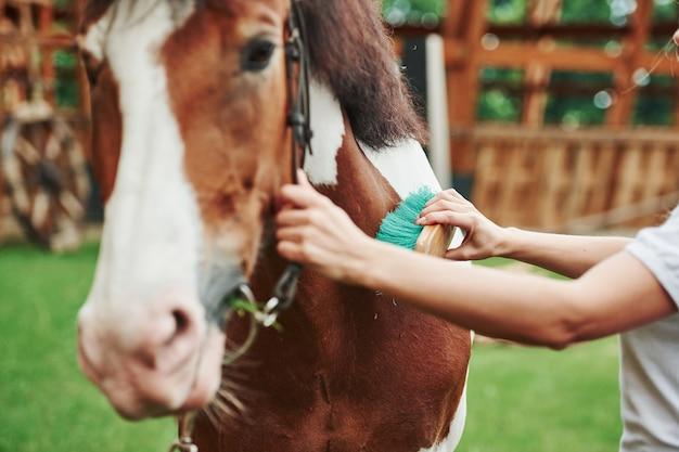 Femme heureuse avec son cheval sur le ranch pendant la journée.