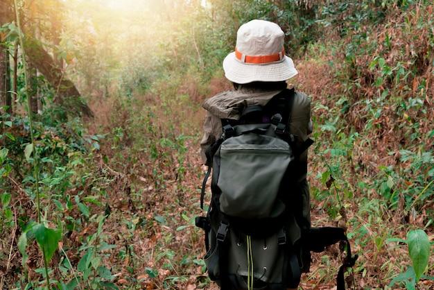 Femme hipster avec randonneur randonnée dans la forêt
