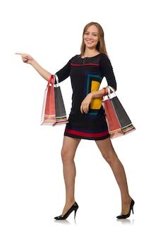 Femme, isolé, sacs à provisions