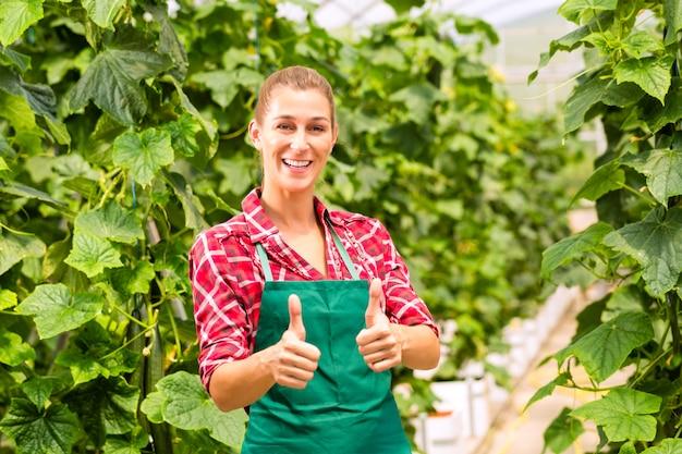 Femme jardinier commercial en serre