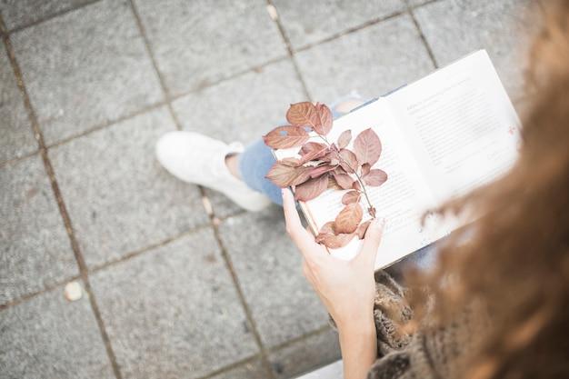 Femme en jeans tenant livre avec feuille d'automne