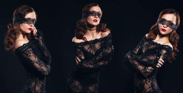 Femme en lingerie sexy sur fond noir. cul parfait et beau maquillage. séance photo érotique charmante femme séduisante avec un masque sur les yeux bandés sur son visage