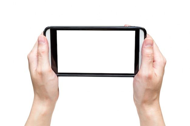 Femme main photo photo avec smartphone sur un tracé de détourage isolé.