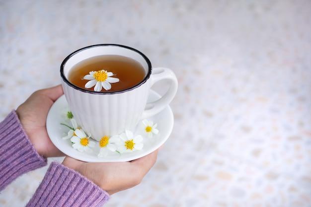 Femme à la main avec pull tenant du thé chaud à la camomille dans une tasse blanche avec des fleurs de camomille. petit déjeuner pour une bonne santé. herbe boisson nourriture nature.