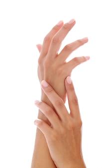 Femme, mains, manucure