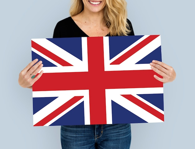 Femme, mains, tenir, angleterre, royaume-uni, drapeau, patriotisme