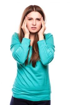 Femme avec mal tête