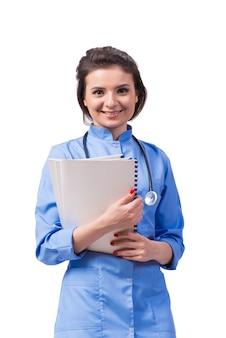 Femme médecin isolé sur le blanc