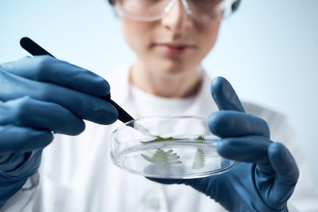 Femme médecin recherche biologie écologie expérience analyse fond isolé