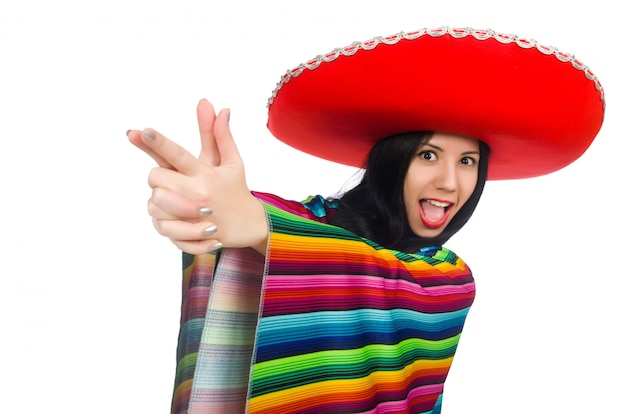 Femme mexicaine dans un concept drôle sur blanc