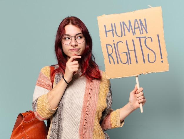Femme militante étudiante tty