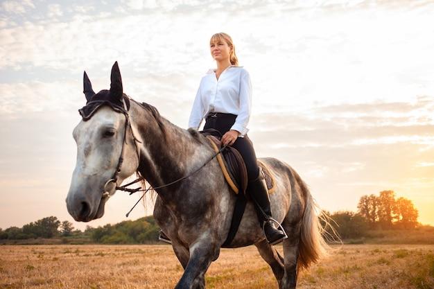 Femme montant un cheval gris dans un champ au coucher du soleil. promenades, équitation, location. beau fond, nature en plein air. formation aux sports équestres. espace de copie.