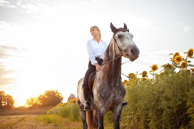 Une femme monte un cheval gris dans un champ au coucher du soleil. liberté, beau fond, amitié et amour pour l'animal. entraînement sportif équestre, location et vente de chevaux, randonnées, équitation,