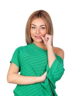 Femme nerveuse manger ses ongles isolé sur fond blanc
