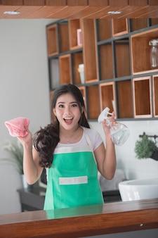 Femme, nettoyage, maison