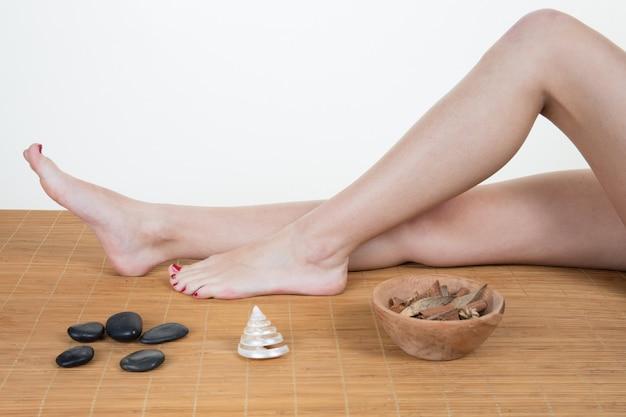Femme, obtenir, massage, centre spa