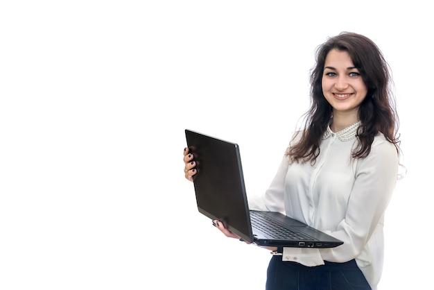 Femme, à, ordinateur portable, isolé