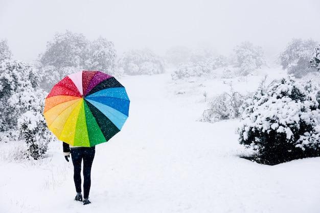 Femme avec parapluie coloré marchant dans la forêt lors d'une chute de neige.