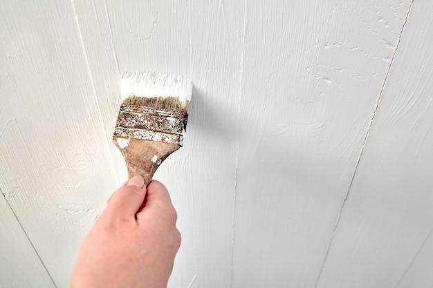 Femme peignant un mur de surface en bois