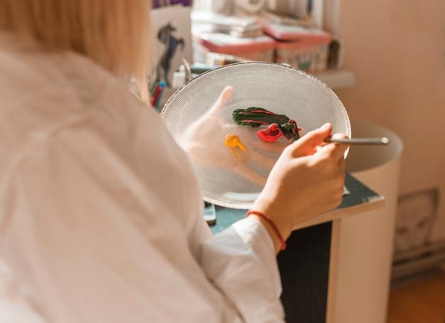 Femme, peinture, aquarelle, studio