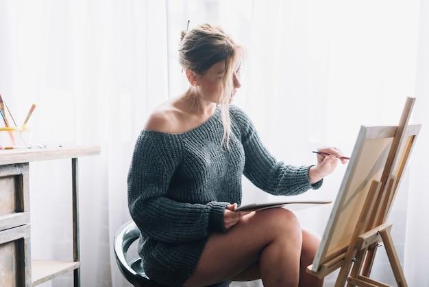 Femme peinture sur toile