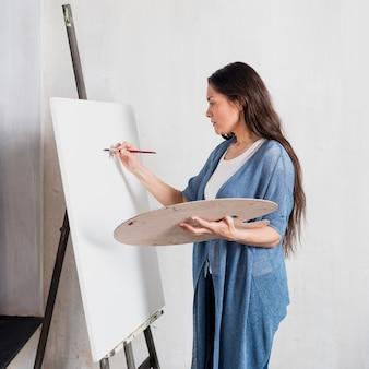 Femme, peinture, sur, toile