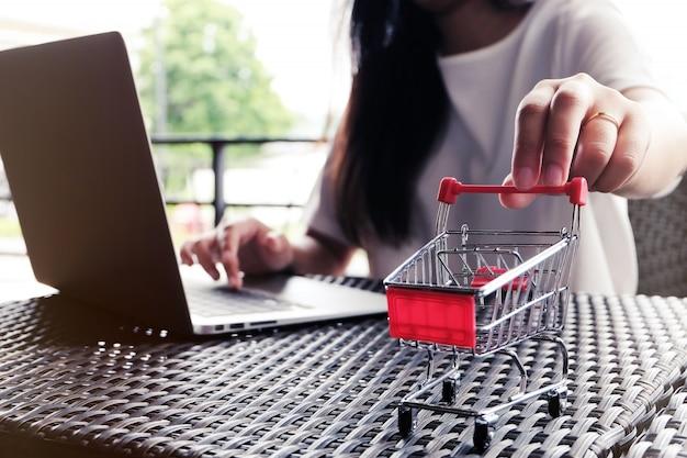 Femme et petit panier avec ordinateur portable pour le concept de magasinage en ligne.