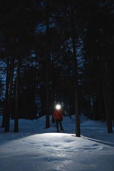 Femme avec des phares explorant les bois au crépuscule