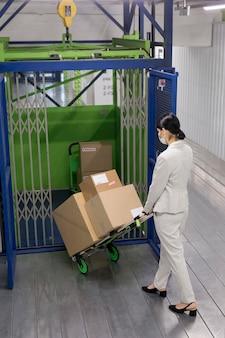 Femme plein coup transportant des boîtes
