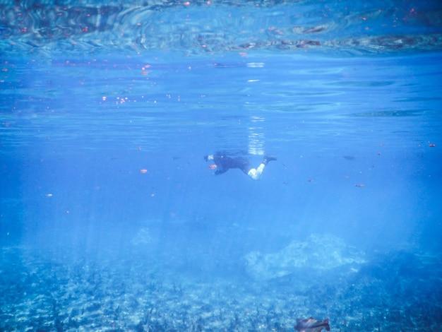 Femme plongée en apnée dans la rivière