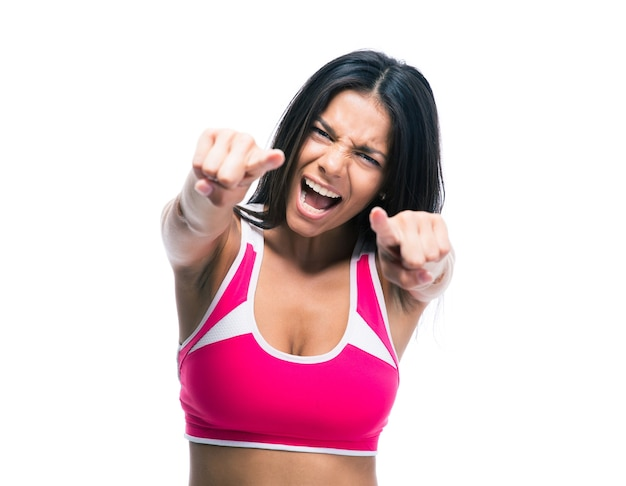 Femme pointant les doigts vers l'avant