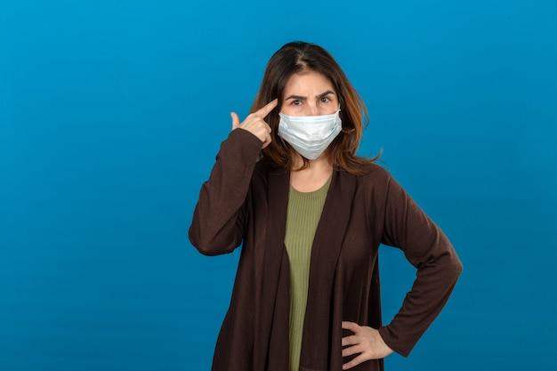 Femme portant un cardigan marron en masque de protection médicale pointant le temple avec la pensée du doigt axée sur une tâche avec froncer les sourcils face sur mur bleu isolé