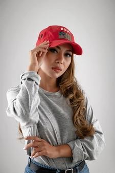 Femme, porter, chapeau, à, drapeau américain