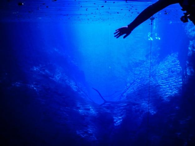 Femme pratiquant skorkel dans les eaux bleues