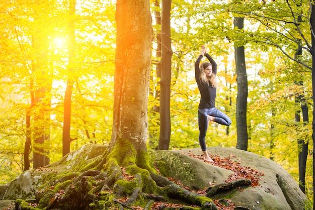 Femme pratique le yoga dans la forêt d'automne sur la grosse pierre