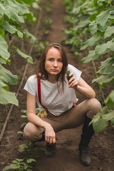 Femme prenant soin de plantes en serre