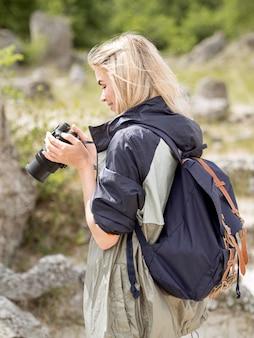 Femme, prendre photos