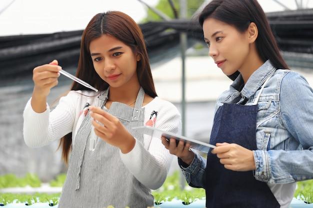La femme propriétaire de la ferme maraîchère hydroponique et ses consultants. ils testent les conditions de l'eau dans les parcelles de légumes.