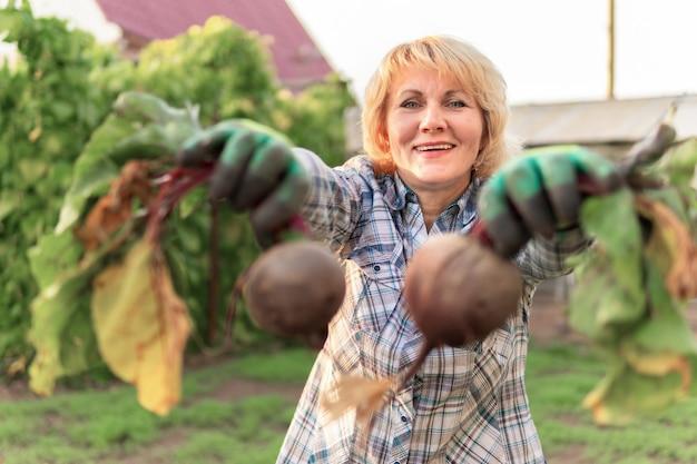 Une femme ramasse des betteraves dans le jardin. une femme d'âge moyen dans l'arrière-cour tenant des légumes.