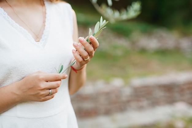 Une femme en robe blanche tient une fine branche d'olive dans ses mains, gros plan