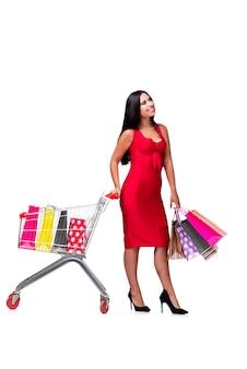 Femme en robe rouge après le shopping isolé sur blanc