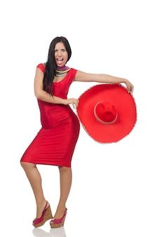 Femme en robe rouge avec sombrero