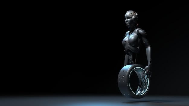 Femme robot, femme scifi monde numérique de l'avenir des réseaux de neurones et du rendu 3d de l'intelligence artificielle