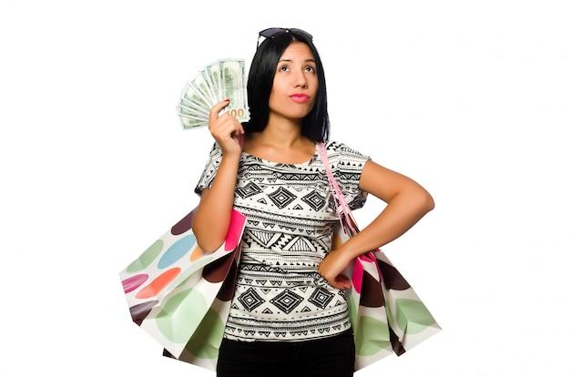 Femme avec des sacs à provisions isolé sur blanc