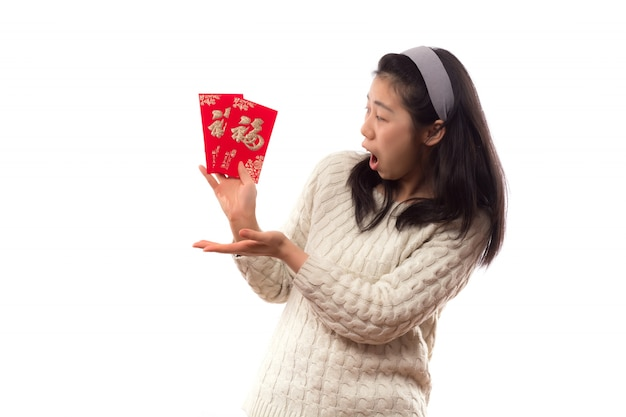 Femme salutation fond japonais orientale