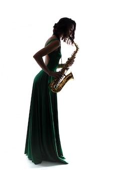 Femme, saxophone, isolé