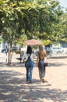 Femme se promener sous un parapluie
